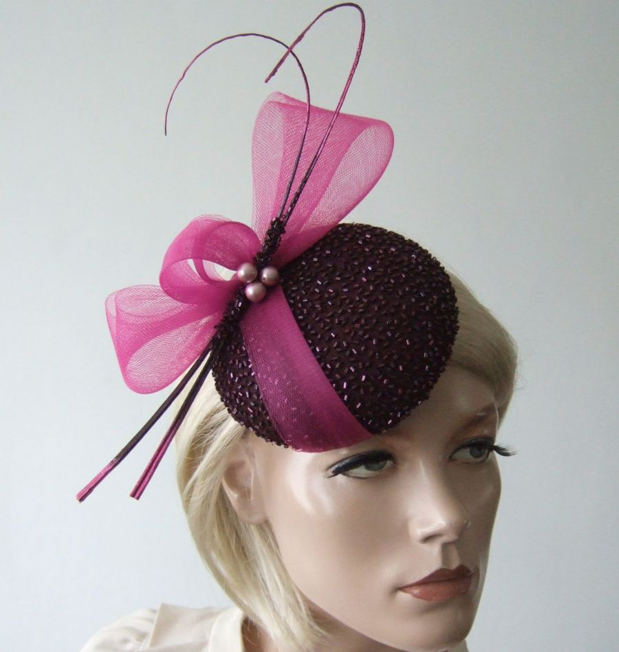 "Aubergine Fuschia Beaded Button Cocktail Hat Headpiece Fascinator ""Arusa"""